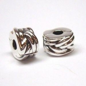 Pandora BRAIDED CHARM CLIPS 791774 set of 2 lot
